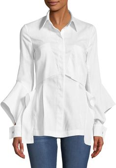Roland Mouret Deconstructed Button-Front Split-Cuff Cotton Pique Pocket Shirt