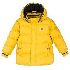 Boys Yellow Puffer Jacket with Hood, Timberland, Boy