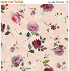 NEW YEAR SALE Rosewater - Tossed Roses~Cotton Fabric, Quilt~Quilting Treasures Fast Shipping F647