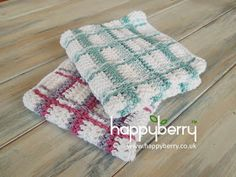 Geweven doeken Happy Berry Crochet: How To - Crochet Tartan Plaid Wash Cloths