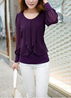 Women Tops 2018 Long Sleeve Women Blouse Shirt Loose Plus Size Chiffon Blouse Purple Blue Women'S Clothing Blusas Top - Outfits for Work Blouse Styles, Blouse Designs, Hijab Styles, Look Fashion, Fashion Outfits, Womens Fashion, Dressy Outfits, Latest Fashion, Fashion Online
