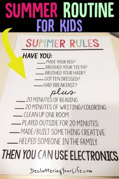 Summer Routine For Kids At Home - Summer Break Schedule For Kids - Daily Schedules and Summer Chore Chart Responsibilites for kids, teens, pre-teens home all day during summer break from school - Phone Use Rules for Kids and daily routine chart for kids - Kids Schedule Chart, Daily Routine Chart For Kids, Daily Routine Schedule, Chore Chart Kids, School Schedule, Charts For Kids, Daily Schedules, Daily Checklist, Daily Routines
