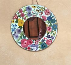 Mirror wall decor, handpainted floral mirror, cottage mirror, decorative accent mirror, round shabby wall art, bohemian gift for her, mom Shabby Chic Jars, Shabby Chic Wall Decor, Bohemian Decor, Floral Nursery, Floral Wall, Cottage Mirrors, Vintage Jars, Photo Candles, Gold Paint