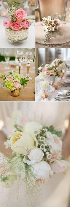 Arreglos florales para boda en color rosa