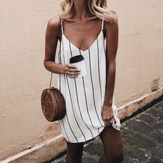 Buy Summer Dresses For Women at JustFashionNow. Online Shopping Women V neck Spa., Summer Dresses For Women at JustFashionNow. Online Shopping Women V neck Spaghetti Summer Dress Stripe Dress, The Best Daily Summer Dresses. Summer Outfits 2017, Summer Dresses For Women, Spring Outfits, Dress Summer, 2017 Summer, Simple Summer Dresses, Summer Dresses Tumblr, Summer Outfits For Vacation, Beach Holiday Outfits