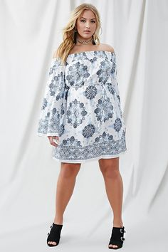 Forever - A semi-sheer dress featuring a smocked off-the-shoulder neckline, an allover floral and damask print, long bell sleeves, and a self-tie sash at the waist. Plus Size Dress Outfits, Plus Size Bodycon Dresses, Curvy Outfits, Sexy Outfits, Curvy Women Fashion, Cute Fashion, Plus Size Fashion, Girl Fashion, Sheer Dress