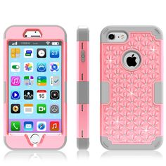 Rhinestone Phone Cover For iPhone 7 Case Pink Shockproof Phone Coque For iPhone 7 Silicone+PC 3 in 1 Phone Capa Size Optional //Price: $15.96 & FREE Shipping //     #DRONE