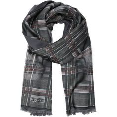 Alexander McQueen Grey plaid patterned silk infinity scarf featuring polyvore, fashion, accessories, scarves, grey, oversized scarves, skull infinity scarf, plaid scarves, silk scarves and circle scarf