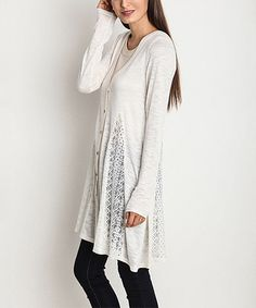 Loving this White Button-Up Lace Panel Sweater - Women on #zulily! #zulilyfinds