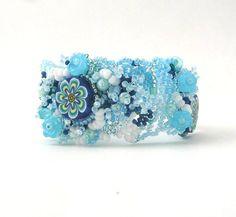 Beaded bracelet jewelry, Seed bead jewelry bracelet, Beadwork bracelet, Freeform peyote bracelet, Blue, winter