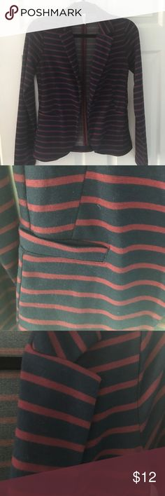Jersey knit navy/burgundy stripe Unstructured, unlined, casual blazer great for office or cute with jeans. 2 front hip pockets. Model is 5'9 #120 32a bust and Typically size 2/4 so this should fit anyone size XS or small. Xhilaration Jackets & Coats Blazers