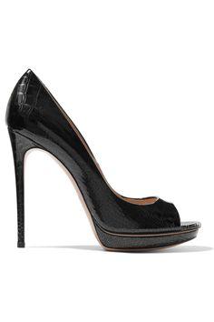 CASADEI Croc-effect patent-leather platform pumps. #casadei #shoes #pumps