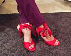 Colorblocking_red and purple! Valentino sandals