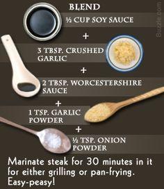 easy steak marinade - olive oil, Worcestershire sauce, lemon, pepper, salt