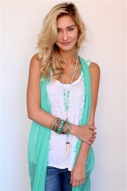 Our bright new Chan Luu scarf as a vest + a breezy linen tee. #linen #spring #scarf