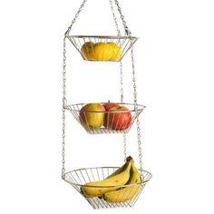 Home Basics Chrome 3 Tier Hanging Fruit Basket