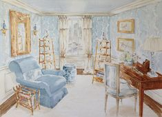 B. Russell Melzer watercolor interior sketch for Jane Ellsworth's Rooms with a View 2014 vignette