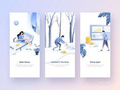 Illustrator by Leo for AGT on Dribbble Ios App Design, Mobile App Design, Interface Design, Design Web, Mobile Ui, Flat Design, Graphic Design, Onboarding App, Ui Ux