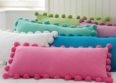 Pom Pom Organic Pillow Cover 2019 pottery barn pillows but how cute and easy to make! what kid wouldn't love to jump on a pile like this? The post Pom Pom Organic Pillow Cover 2019 appeared first on Pillow Diy. Cute Pillows, Diy Pillows, Decorative Pillows, Cushions, Throw Pillows, Colorful Pillows, Pillow Ideas, Bright Pillows, Diy Pillow Covers