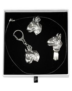 NEW, Bull Terrier, dog keyring, necklace and clipring in casket, ELEGANCE set, limited edition, ArtDog *** You can get more details by clicking on the image.