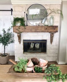 Good Pic lime Stone Fireplace Suggestions – Rebel Without Applause Stone Fireplace Mantles, Country Fireplace, Brick Fireplace Makeover, Fireplace Update, Farmhouse Fireplace, Home Fireplace, Fireplace Remodel, Living Room With Fireplace, Fireplace Design