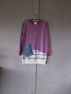 Fall Sweatshirt tunic upcycled clothing mini dress L X Large 1 X Eco up cycled top Funky Lagenlook Tunic Bohemian shirt LillieNoraDryGoods