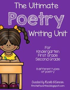 Poetry writing unit for lower elementary! Examples, planning pages, and final copy poetry book printables!!