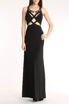 Mignon  Long Jersey Gown In Black  $218.00