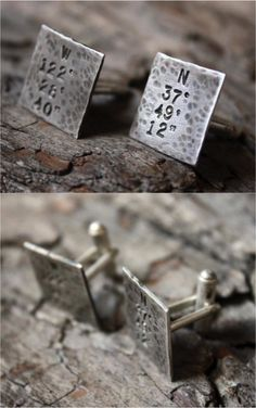 These rustic style cuff links will be stamped with the coordinates of a place or location that's special for your or the one you love. These make for a great graduation gift or a deployment present, or a very thoughtful anniversary or birthday gift for any special guy in your life.    Made on Hatch.co by makers who care.