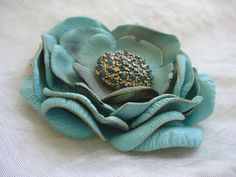 Antiqued Flower Pin or Boutonniere Unique Accessories 2 1/4 inch Seafoam Blue…