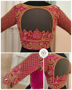Heavy embellished blouse with great amount of intricacy and deatiled workmanship. Take a closer look when u swipe. Choli Blouse Design, Wedding Saree Blouse Designs, Pattu Saree Blouse Designs, Fancy Blouse Designs, Blouse Neck Designs, Kurta Designs, Stylish Blouse Design, Designer Blouse Patterns, Closer