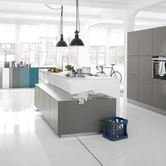 Looking for grey kitchen ideas? If you're looking for an alternative to white kitchen units, you can't go wrong with grey cabinetry and grey kitchen tiles Grey Kitchen Tiles, Grey Kitchen Designs, White Kitchen Island, Grey Kitchens, Kitchen Flooring, Kitchen Gallery, Kitchen Photos, Kitchen Ideas, Kitchen Inspiration