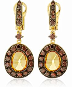ANNOUSHKA GOLD DUSTY DIAMOND CITRINE DROP EARRINGS