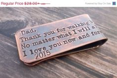 Rustic copper message money clip hand by BrandiAlewineDesigns