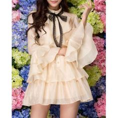 Sweet Stand Collar Ruffles Single-Breasted Butterfly Sleeves Women's Dress, APRICOT, ONE SIZE in Dresses 2014 | DressLily.com