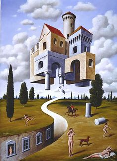 Rafal Olbinski _G-castle-nudes-sm Art Optical, Optical Illusions, Wassily Kandinsky, Surreal Artwork, Surrealism Painting, Pop Surrealism, Rene Magritte, Artwork Images, Creative Portraits