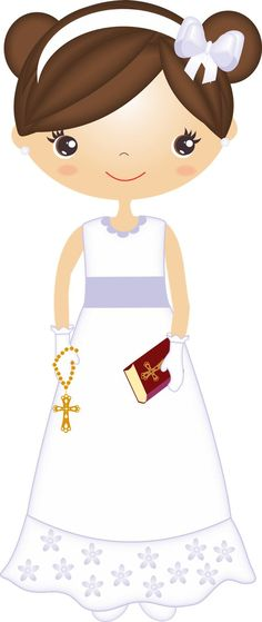 Nice Girls First Communion Free Images Clipart. This images will help you for doing decorations, invitations, toppers, cards an. Clipart Png, Girl Clipart, Communion Cakes, First Communion, Communion Centerpieces, Prayer Images, Baptism Cookies, Dots Free, Candy Bar Labels