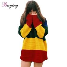 New Winter Knitted Women Sweater Rainbow Color O Neck Long Sleeve Loose Pullover Christmas Sweater Tops Outerwear Blusas(China (Mainland))