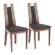 Contemporary Charcoal Upholstered Dining Room Chair (Set of 2) - Aspen | RC Willey Furniture Store Walnut Dining Chairs, High Back Dining Chairs, Glass Dining Table, Upholstered Dining Chairs, Dining Chair Set, Dining Room Chairs, Dining Furniture, New Furniture, Kitchen Chairs