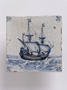 Wall tile, Harlingen, Netherlands, 1650-1700, tin-glazed earthenware with painted decoration in blue, a ship V C.571:2-1923