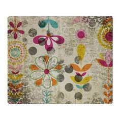 Bohemian Boho Flowers Throw Blanket  - March 16 - 2x