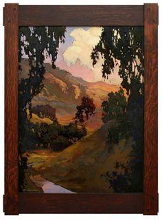 Jan Schmuckal Tonalist Impressionist Artist - Original oil on board - Dard Hunter Frame - California Landscape -  Vander Molen Fine Art - Pasadena Heritage's Craftsman Weekend