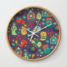 Abstract colorful hand drawn floral pattern design Wall Clock