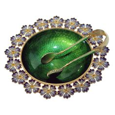 Norway  circa 1900  A fine Norwegian plique-a-jour and transparent enamel footed bowl and tongs designed by Gustav Gaudernack for David Anderson