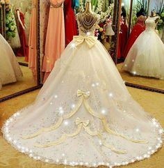 Wedding is the most important event in one's life. If you also dream to style like a fairy, then a Disney princess wedding dress can help you achieve that look! Disney Wedding Dresses, Cinderella Wedding, Princess Wedding Dresses, Dream Wedding Dresses, Wedding Gowns, Beauty And The Beast Wedding Dresses, Disney Weddings, Wedding Disney, Princess Bridal