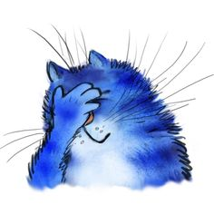 Cartoon Sketches, Cartoon Art, Caricature Drawing, Happy Paintings, Cat Stickers, Funny Stickers, Blue Cats, Funny Animal Pictures, Whimsical Art