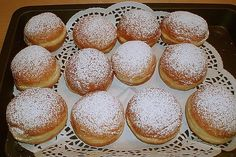 donuts- Krapfen Donut from konradruehle Low Carb Cupcakes, Donut Recipes, Muffin Recipes, Donut Store, Bread Dough Recipe, Canned Blueberries, Scones Ingredients, Blueberry Scones, Vegan Butter