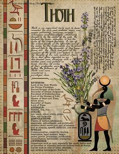 Thoth, Book of Shadows page, Ancient Egyptian Gods and Goddesses Egyptian Mythology, Egyptian Symbols, Egyptian Goddess, Egyptian Art, Ancient Egyptian Deities, Emerald Tablets Of Thoth, Ancient Egypt Art, Pagan Gods, Wiccan