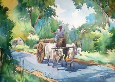 Ganta rk saved to memory line Watercolor Paintings For Beginners, Watercolor Pictures, Watercolor Landscape Paintings, Landscape Drawings, Watercolor Art, Art Drawings, Art Village, Village Drawing, India Painting