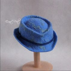 Felted newborn hat sky blue merino wool locks boys by EsartFelt